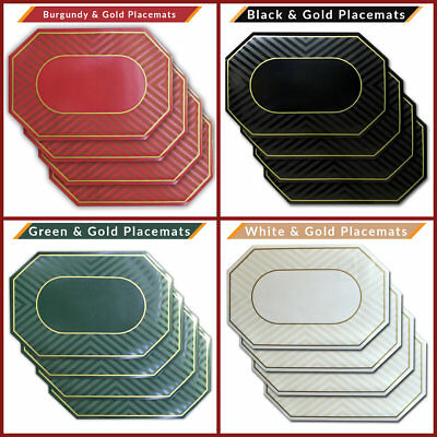 NEW Set of 6 Vinyl Placemats Place Mats Table Mats Burgundy, Black, White, Green