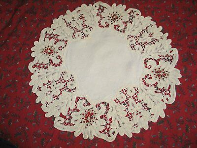Antique Victorian Tablecloth Battenburg Lace Centercloth Doily Hand Embroidery