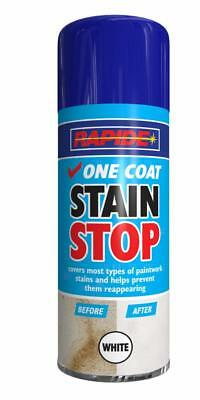 48 x Rapide One Coat Stain Stop White Aerosol Spray Can Durable 400ml