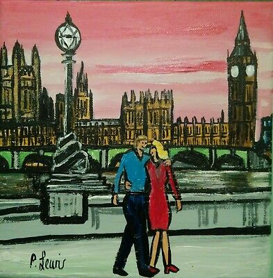 "PHIL LEWIS -ROMANTIC WALK AT WESTMINSTER BIG BEN LONDON -20x 20cm 8""x8"" canvas"