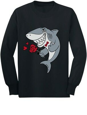 Valentine's Day Shark With Rose Boys Toddler/Kids Long sleeve T-Shirt Doo doo