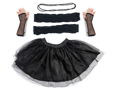Black Tutu Set Skirt Gloves Leg Warmers Necklace Womens 80s Fancy Dress Costume