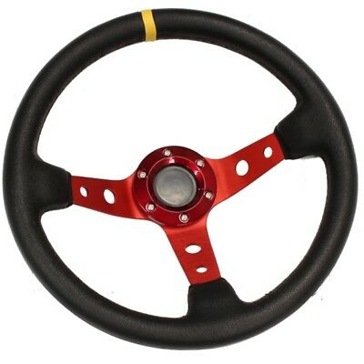 Red Deep Dish Drifting/Track Car Steering Wheel Race/Sports/Drift/Leather Effect