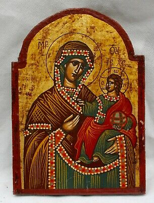 Vintage Greek or Russian Wall Hanging Icon. Madonna & Child.Oil on Wood