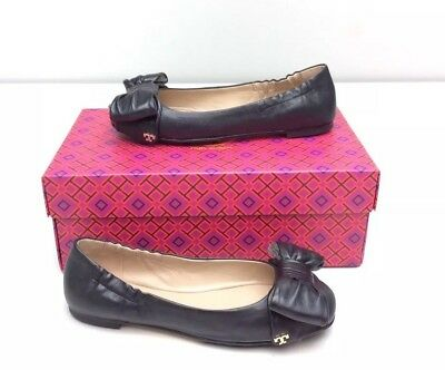 ff1ae6c1a39 Tory Burch Divine Bow Driver Ballet Ballerina Flat Size 5.5 Black Leather  New