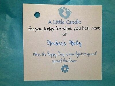 Baby Shower Candle Favour Labels / Tags - Elephants ** Baby Feet Gifts Boy Girl