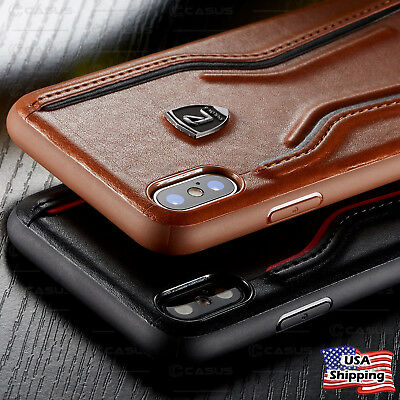SHOCKPROOF Leather Thin Slim Hard Case Cover For iPhone XR/XS MAX/8/7 Plus