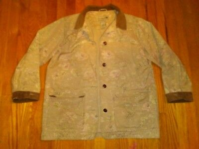 5c900a8c50402 L.L. Bean Women s khaki Floral Canvas Barn Coat Corduroy Trim Jacket Size  Large