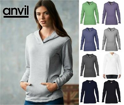 Terry Hooded Hood Pocket Front Ladies Anvil Sweatshirt Crossover French yvmn0w8NO