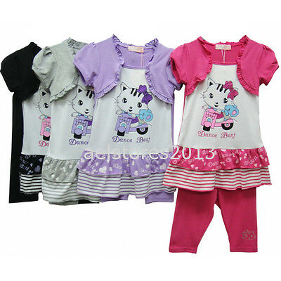 Girls Hello Kitty Top and Legging Set Black Grey Age 2 - 8 years