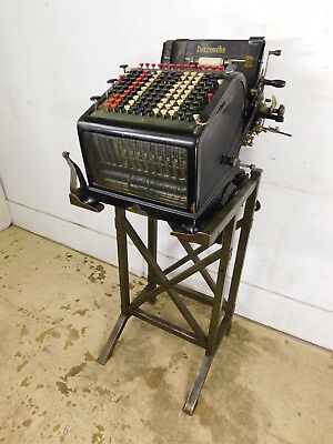 1927 Antique 13 Column Burroughs Office Adding Machine w Motor & Metal Stand