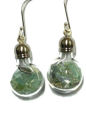 Roman Glass Earrings Fragments Silver 200 B.C Ancient  in Glass bottle