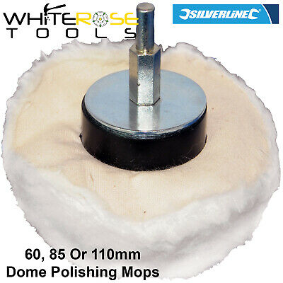 Silverline Polishing Mops Dome 60mm 85mm 110mm Cotton Interior Buffing
