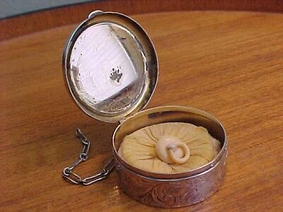 Chatelaine Powder Compact With Puff, Antique Victorian, Sterling Silver, Signed