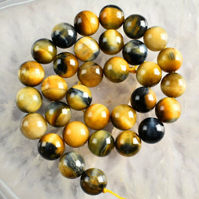 V3343 12mm Golden Blue Tiger Eye Gem Ball Loose Beads 15''
