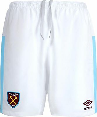 Umbro 2016/17 West Ham United Junior Kids Home Kit Football Shorts White Sky