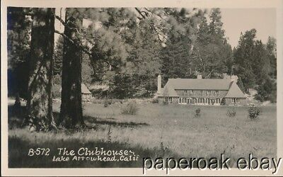ca1920 The Clubhouse At Lake Arrowhead, California Real Photo Postcard