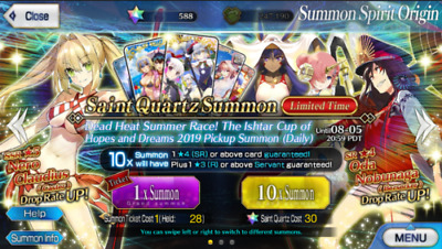 BUY 2 GET 1 FREE [NA]Fate Grand Order English FGO Account 250-350 Saint Quartz🌟