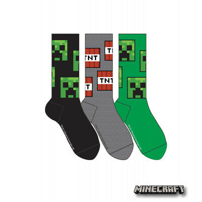 CREEPER FACE +TNT MINECRAFT Official Licensed Socks,3 pairs per pack, NEW