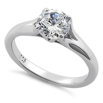 Melchior Jewellery Sterling Silver Classic SOLITAIRE Clear CZ ENGAGEMENT Ring