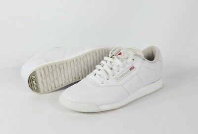 31a9633a376 Vintage 90s Reebok Womens Size 9 Spell Out Leather Lace Up Sneakers Shoes  White