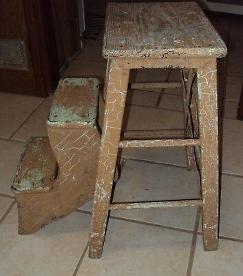 """VINTAGE 23.5"""" TWO STEP SMALL WOODEN STEP STOOL FLIP UP LADDER-Pick Up NW AR"""