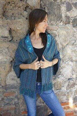 Handwoven Guatemalan Blue Waist Coat Created with Indigo and Other Natural Dyes