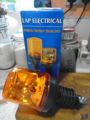 Lap Electrical Beacon Lamp 12V Flexi Amber Rotating, Lap 271, Made In Uk