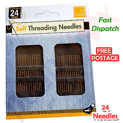 Easy SELF THREADING NEEDLES 24 Pack Hand Sewing Knitting Simple Sewing Free Post