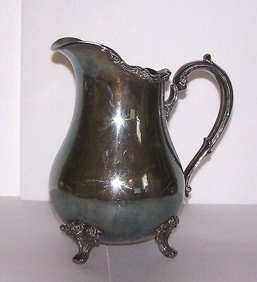 International Silver Wilcox American Rose HEAVY Silverplate Large Water Pitcher