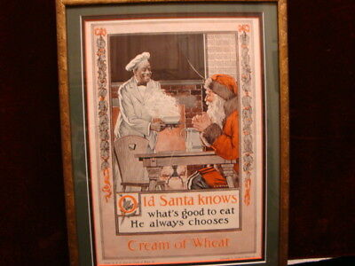 Antique Cream of Wheat Santa Advertising Print Framed Matted C.1920 Great Colors