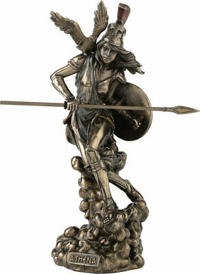 Athena Greek Goddess of Wisdom & War Statue Sculpture Figurine with OWL