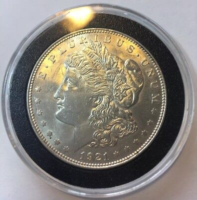 BU 1921 P Morgan Silver Dollar Uncirculated with Air-Tite Capsule Free Shipping