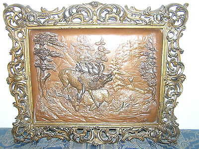 Vintage Metalware Wall Decoration With Hunting Scene.