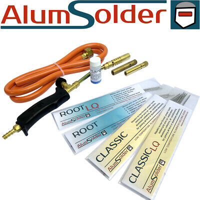 ALUMINIUM WELDING KIT - 4 TYPES OF RODS, gas torch and flux, ALUMSOLDER KIT