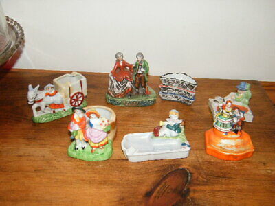 6 Made in Japan Figural Ashtrays Lustre Lustreware Colonial Donkey Cart Stacked