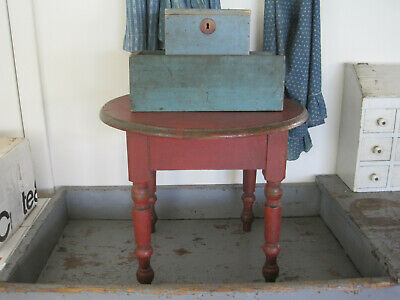 19th Century Primitive Original Dry Red Paint Little Table Stool American Find