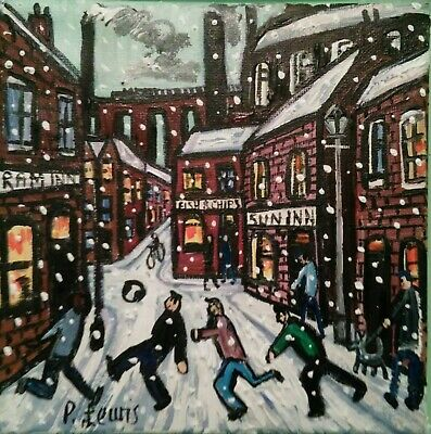 "PHIL LEWIS- STREET FOOTBALL IN THE SNOW- 8 x8"" 20x20 cm -ORIGINAL NORTHERN ART"