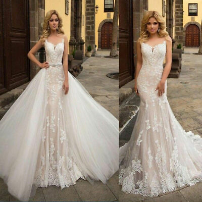 White Ivory Lace Mermaid Wedding Dresses Appliques Bridal Gowns