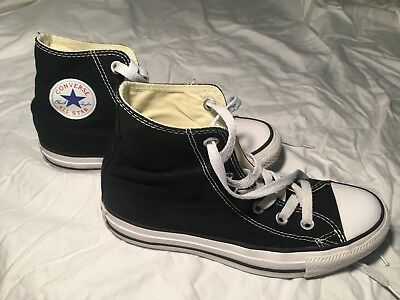 4a8fd51bad84 CONVERSE ALL STAR Black and White Youth Boy Girl Hi Top Kids Shoes ...