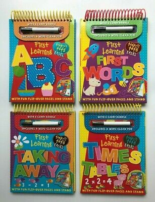 Wipe Clean Early Learning Tiny Tots Easel First Leaning Abc Words Time Tables 3+