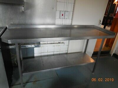 Used  Commercial Stainless Steel Table  Prep Kitchen Food WITH SHELVE