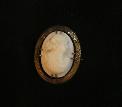 Vintage Brass and Pink Shell Cameo -  The goddess Ceres