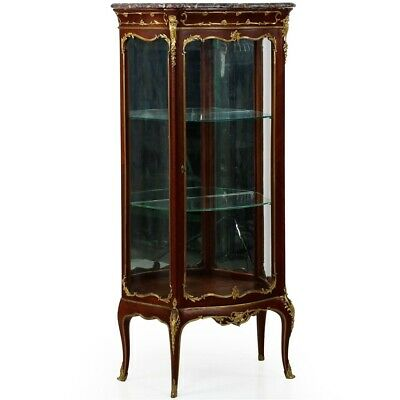 French Louis XV Style Gilt Bronze Antique Display Cabinet Vitrine, Paris c. 1880