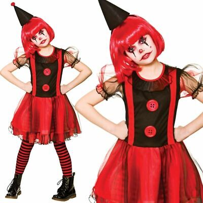 Halloween Clown Girl Outfit.Girls Freaky Clown Costume Halloween Scary Horror Circus