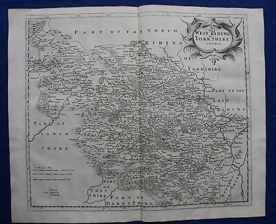 WEST YORKSHIRE original antique map from CAMDEN'S BRITANNIA, Robert Morden, 1722