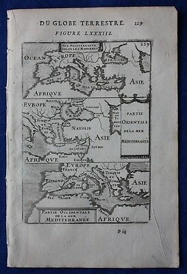 Original antique map MEDITERRANEAN SEA, EUROPE, NORTH AFRICA, Mallet, 1683