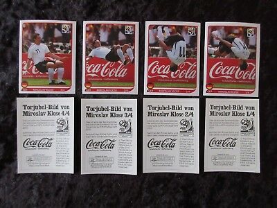 Panini WM 2010 Coca Cola Klose Salto komplett Sticker 1 - 4 World Cup WC 10