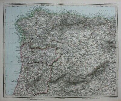 Original antique map NORTH WEST SPAIN, NORTH PORTUGAL, MADRID, Stieler, 1886