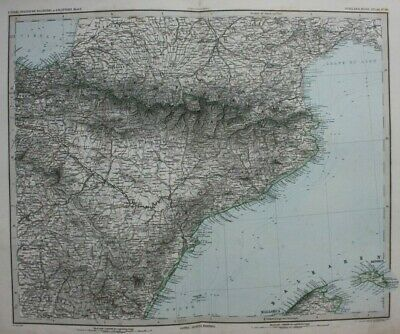Original antique map NORTH EAST SPAIN, PYRENNES, BALEARIC ISLES, Stieler, 1886
